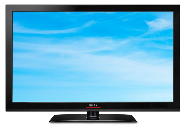 Modern LCD HDTV. Clipping path for both screen and tv outline.